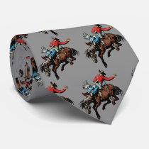 Western Rodeo Cowboy Bronc Rider Mens Necktie