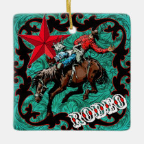 Western Rodeo Cowboy Bronc Riding Ornament