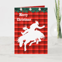 Western Rodeo Cowboy Bronc  Riding  Plaid Holiday Card