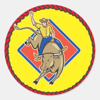 Western Rodeo Cowboy Bull Rider Classic Round Sticker
