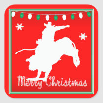 Western Rodeo Cowboy  Bull Riding  Christmas Square Sticker