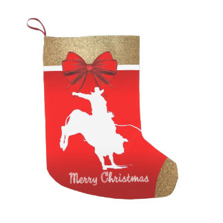 Western Rodeo Cowboy Bull Riding on Red Small Christmas Stocking
