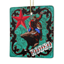 Western Rodeo Cowboy Bull Riding Ornament