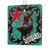 Western Rodeo Cowboy Bull Riding Ornament
