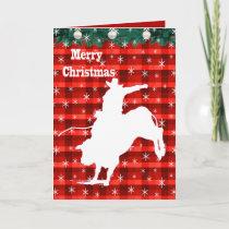 Western Rodeo Cowboy Bull Riding  Plaid Holiday Card