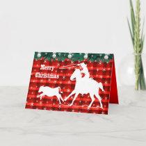 Western Rodeo Cowboy Calf Roping Plaid Holiday Card