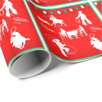 Western Rodeo Cowboy Cowgirl Roping Christmas Wrapping Paper
