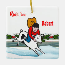 Western Rodeo Cowboy Kid Mutton Buster Christmas Ceramic Ornament