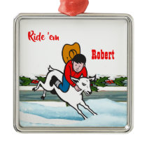 Western Rodeo Cowboy Kid Mutton Buster Christmas Metal Ornament