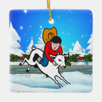 Western Rodeo Cowboy Kid Mutton Buster Snow Scene Ceramic Ornament