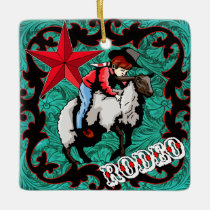 "Western Rodeo Cowboy Mutton Bustin"" Ornament"
