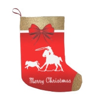 Western Rodeo Cowboy Roping Red Small Christmas Stocking
