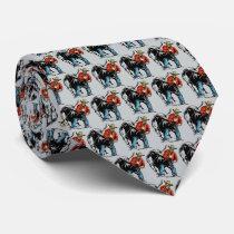 Western Rodeo Cowboy Steer Wrestling Men's Necktie