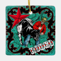 Western Rodeo Cowboy Steer Wrestling Ornament