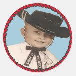 Western Rodeo Cowboy Stickers Go Texan Round Sticker