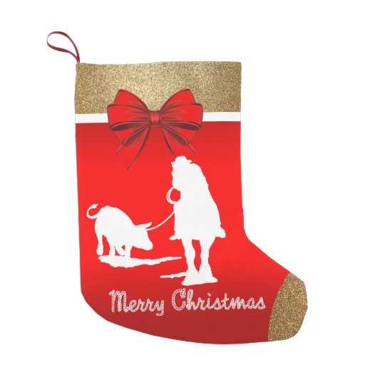 western rodeo cowboy team roping red small christmas stocking