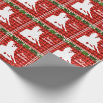 Western Rodeo Cowgirl Barrel Racing on Red Plaid Wrapping Paper