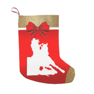 Western Rodeo Cowgirl Barrel Racing on Red Small Christmas Stocking