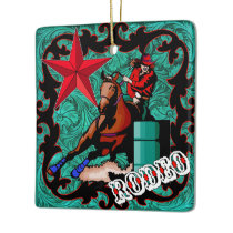Western Rodeo Cowgirl Barrel Racing Ornament