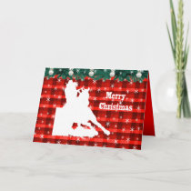 Western Rodeo Cowgirl Barrel Racing Plaid Holiday Card