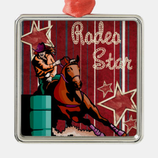 Western Rodeo Cowgirl Barrel Racing Rodeo Star Metal Ornament