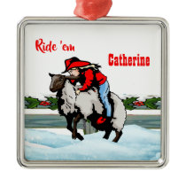 Western Rodeo Cowgirl Kid Mutton Buster Christmas Metal Ornament