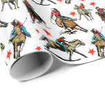 Western Rodeo Cowgirls On Horses Wrapping Paper at Zazzle