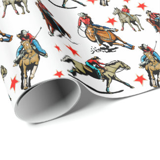Western Rodeo Cowgirls On Horses Wrapping Paper