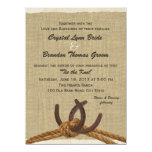 """Western Rope and Horse Shoes Wedding 5.5"""" X 7.5"""" Invitation Card"""