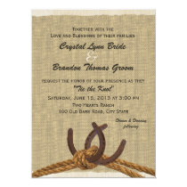 Western Rope and Horse Shoes Wedding Invitation