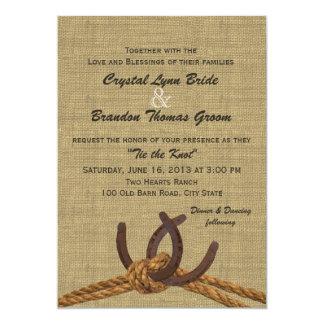 Western Rope and Horseshoes Wedding Card