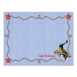 Western Round Up Personalized Flat Note Cards