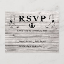Western RSVP Country Wedding Cowboy Boots Wood Invitation Postcard