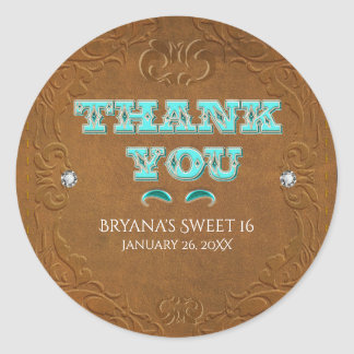 Western Rustic Brown Faux Leather Look THANK YOU Classic Round Sticker