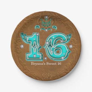 Western Rustic Brown Leather Look & Diamonds 16 Paper Plate
