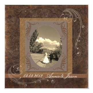 Western Rustic country Wedding photo invitation