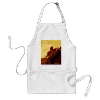 Western rustic roping saddle art adult apron