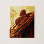 Western rustic roping saddle art puzzles