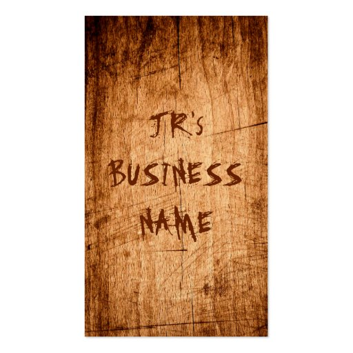 Western Rustic Scratched Wood Grain Cool Stylish Business Card (back side)