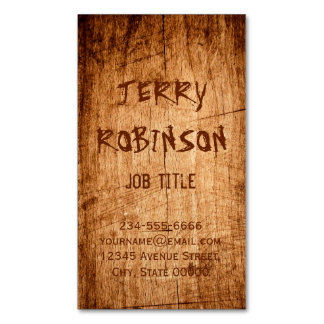 Western Rustic Scratched Wood Grain Cool Stylish Magnetic Business Card