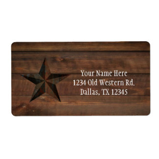 Western Rusty Star on Wood Rustic Country Party Label
