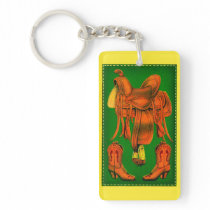 Western saddle and cowboy boots keychain