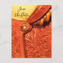 Western Saddle Country Wedding Save the Date Announcement Postcard