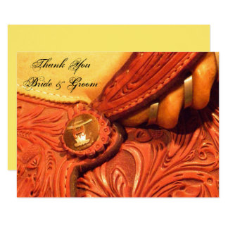 Western Saddle Country Wedding Thank You Note Card