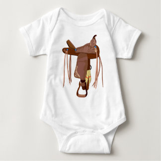 Western Saddle in Brown Baby Bodysuit