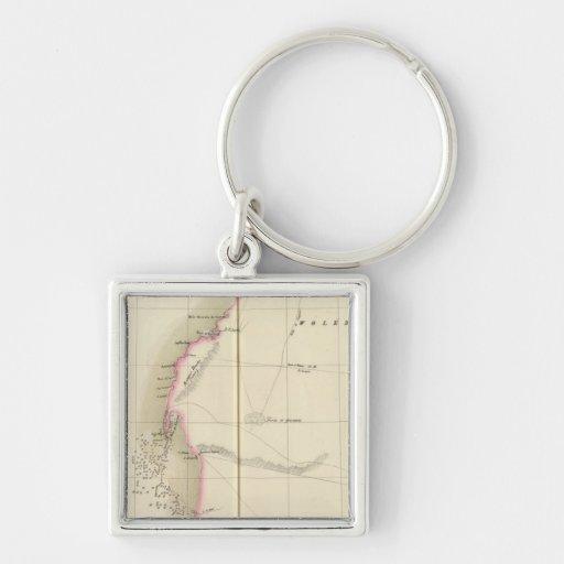 Western Sahara, África 12 Llavero Cuadrado Plateado