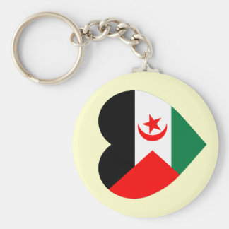 Western Sahara Flag Heart Key Chain