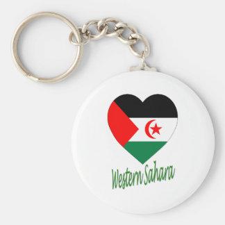Western Sahara Flag Heart Keychains