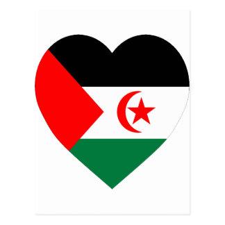 Western Sahara Flag Heart Postcard