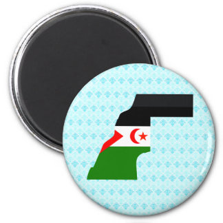 Western Sahara Flag Map full size Fridge Magnets